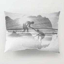Friendship Mountain Black and White Surreal Nature Pillow Sham