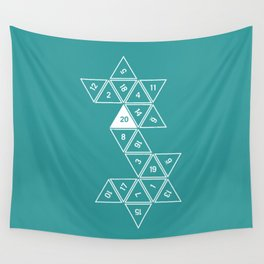 Teal Unrolled D20 Wall Tapestry