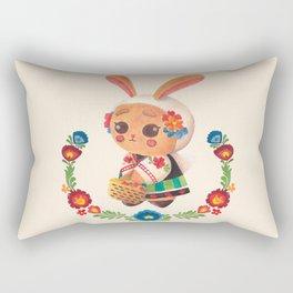The Cute Bunny in Polish Costume Rectangular Pillow