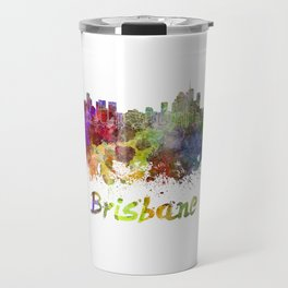 Brisbane skyline in watercolor Travel Mug