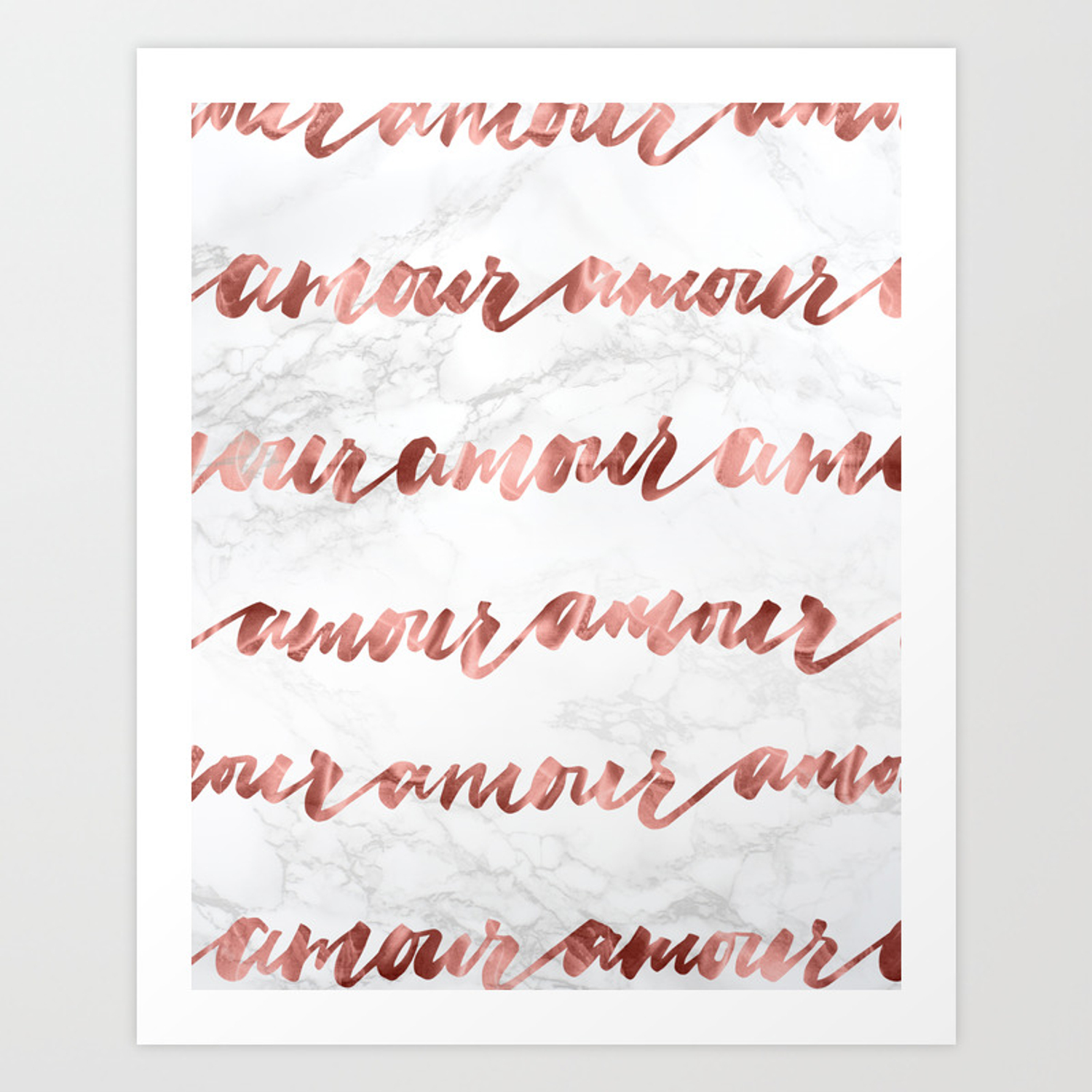 Amour Rose Gold Marble Love Quote Typography Art Print By Naturemagick Society6