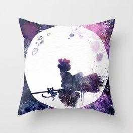 Kiki & Jiji Flying Over The Moon Kiki's Delivery Service Throw Pillow