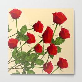 SCATTERED RED LONG STEM ROSES BOTANICAL ART Metal Print