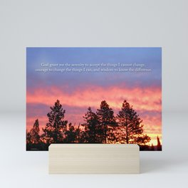 Serenity  Prayer Sunrise Blue Orange Mini Art Print