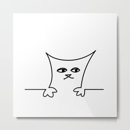 4 Cats on a Line #001, Cat 1, by clodyCats Metal Print