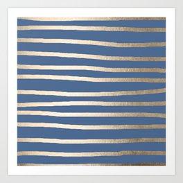 Simply Drawn Stripes White Gold Sands on Aegean Blue Art Print