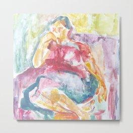 Woman in an armchair 3 watercolor Metal Print