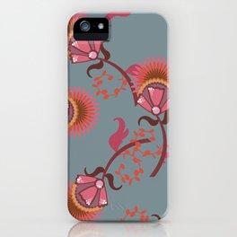 Dark floral pattern iPhone Case