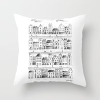 baloon Throw Pillows featuring Cityscape from baloon flight by posterilla