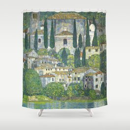 Village - Gustav Klimt Shower Curtain