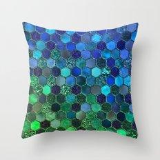 Blue & green geometric hexagonal elegant & luxury pattern Throw Pillow