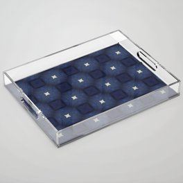 Blue and White Square Pattern Acrylic Tray