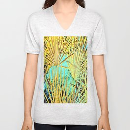 Yellow Space Palm Leaves Unisex V-Neck