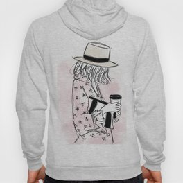Casual young girl wearing hat and floral dress, clutch bag and a cup of coffee ready to hustle Hoody