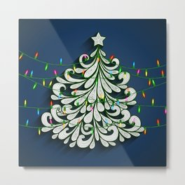 Christmas tree with colorful lights Metal Print