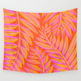 Hot Tropics - Orange Pink Tropical Vines Wall Tapestry
