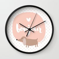 bonjour Wall Clocks featuring Bonjour! by Juice for Breakfast