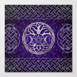 Triple Goddess with pentagram and tree of life Canvas Print