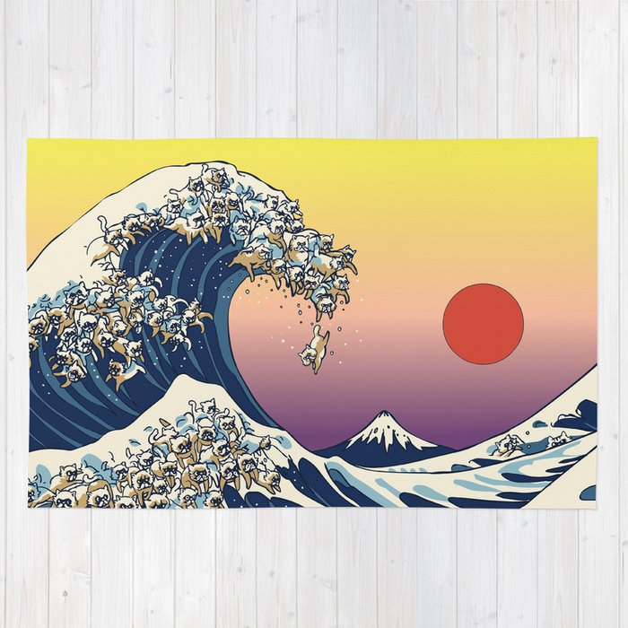 The Great Wave Of  Cat Rug