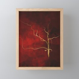 Kintsugi Red #red #gold #kintsugi #japan #marble #watercolor #abstract Framed Mini Art Print