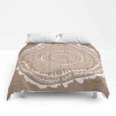 Tree Rings – White Ink on Kraft Comforters