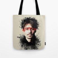 johnny depp Tote Bags featuring Johnny Depp by Brigitta