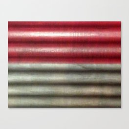 Industrial Wall | Red Grey Striped Wall | Contemporary Art Canvas Print