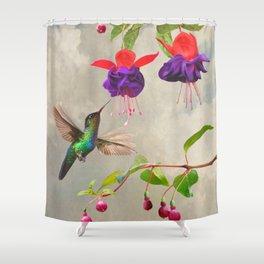 Fuchsia and Hummingbird Shower Curtain