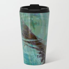 Abstract ink in blue Travel Mug