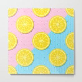 Lemon slices pattern Metal Print