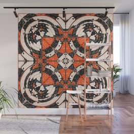 Geometric Orange And Black Abstract Wall Mural