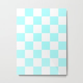 Large Checkered - White and Celeste Cyan Metal Print