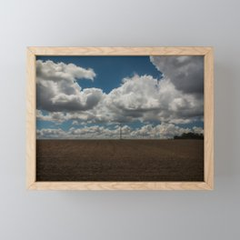 Field in France with wires, clouds and blue sky Framed Mini Art Print