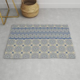 African Ethnic Tribal Beige and Blue Pattern Rug
