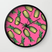 pineapple Wall Clocks featuring Pineapple Pattern by Georgiana Paraschiv