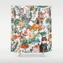 Cat and Floral Pattern III Shower Curtain