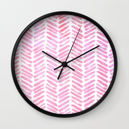 Handpainted Chevron pattern - pink and pink ;) Wall Clock