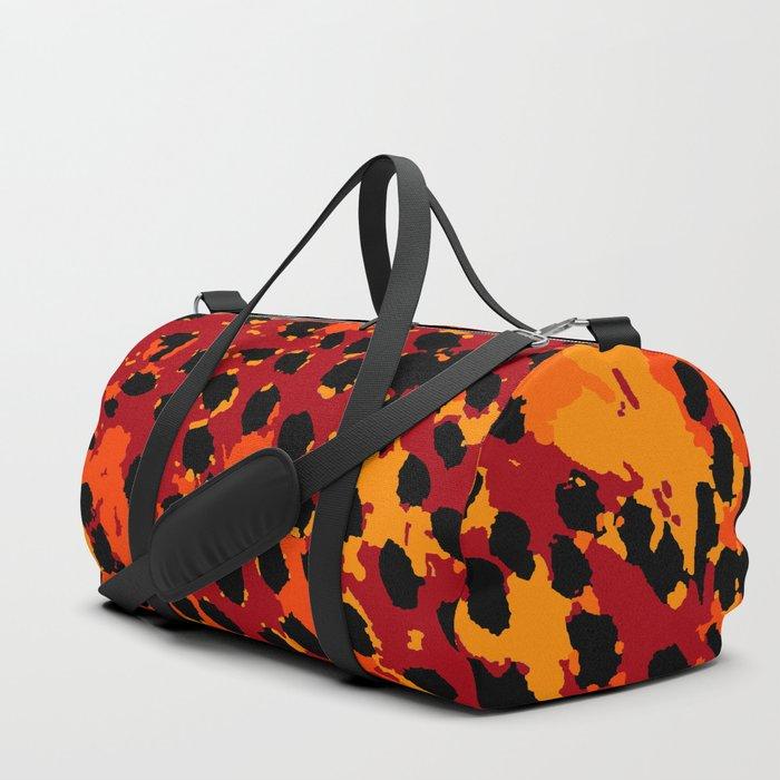 Cheetah Spots in Red, Orange and Yellow Duffle Bag
