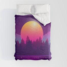 Amazon Rainforest Sunset Synthwave Comforters