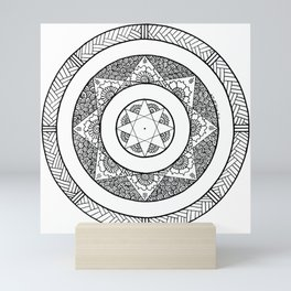 Flower Star Mandala - White Black Mini Art Print