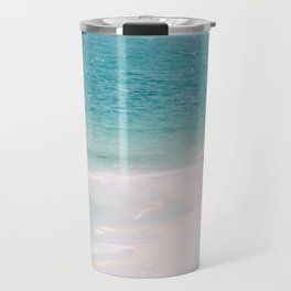 Pink Flamingo Beach Travel Mug