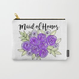 Maid Of Honor Wedding Bridal Purple Violet Lavender Roses Watercolor Carry-All Pouch