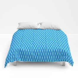 Mid-Century Ribbon Print, Shades of Blue and Aqua Comforters