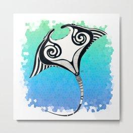 Manta Ray Tribal Tattoo Ink Teal Blue Metal Print