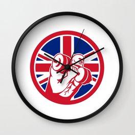 British Gym Circuit Union Jack Flag Icon Wall Clock