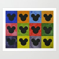 mickey Art Prints featuring Mickey by Sierra Christy Art