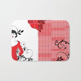 B&W+red Bath Mat