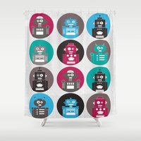 robots Shower Curtains featuring Robots by Kakel
