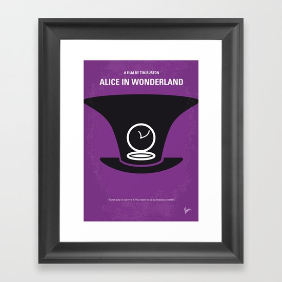 No140 My Alice in Wonderland minimal movie poster Framed Art Print