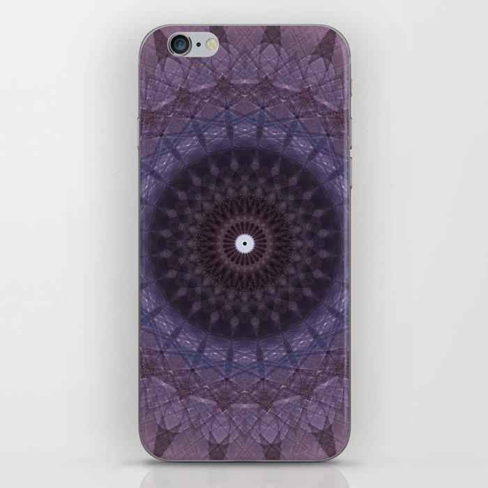 Bohemian mandala in blue and plum colors iPhone Skin